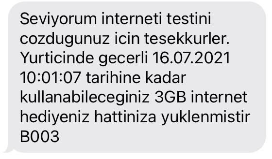 Seviyorum İnterneti Hediye 3 GB
